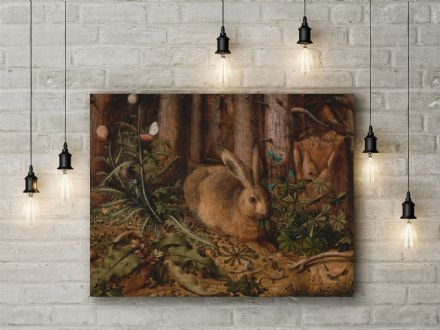 Hans Hoffmann: A Hare in the Forest. Fine Art Canvas.